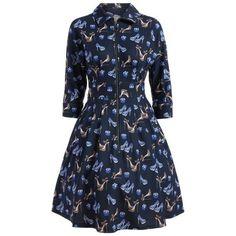 Zipper High Heels Printed A Line Dress ($30) ❤ liked on Polyvore featuring dresses, zipper dress, blue dress, a line dress, a line silhouette dress and zip dress