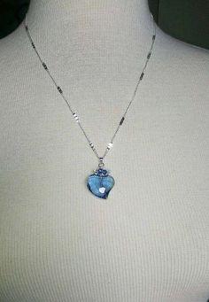 Blue Sapphire Heart with Swarovski Crystal by DonnaJJewelry
