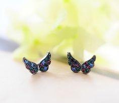 usd14.99/Image of Black color diamonds butterfly earrings