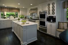Classic White Kitchen - traditional - kitchen - orange county - by Cindy Smetana Interiors Like the placement of the window seat banquette. Classic White Kitchen, White Kitchen Island, White Kitchens, Kitchen Islands, Home Decor Kitchen, Diy Kitchen, Kitchen Design, Kitchen Stuff, Kitchen Countertop Materials
