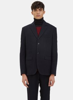YANG LI Men's Classic Subtle Pinstripe Blazer Jacket in Navy. #yangli #cloth #
