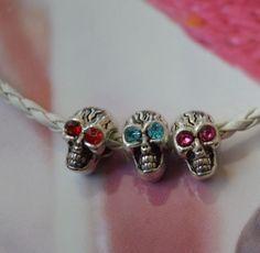Skull-Eyes-Garnet-Ruby-Tourmaline-Topaz-Swarovski-Elements-Silver-European-Charm