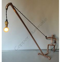 Awesome lamp made from copper pipe: Simplicity in design makes a great impact! Copper pipe available at any hardware store, vintage style electrical parts available at www.snakeheadvintage.com  Designed by Rob at Copper Illuminate: https://www.etsy.com/shop/Copperilluminate CopperMan Hand Made Copper Table / Desk Lamp, Modern, Industrial, Art, Limited Edition.