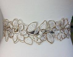 1yd Gold Silk Organza Flower Lace Trim Supply - Women, girls and Bridal for Lace Bridal Sash, Wedding Gown Sash, Bridal Belt, Dress Belt
