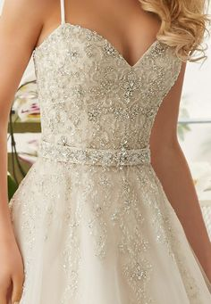 Sweetheart gown with gorgeous beading and belt detail Pretty Wedding Dresses, Perfect Wedding Dress, Pretty Dresses, Bridal Dresses, Wedding Gowns, Bridesmaid Dresses, Quinceanera Dresses, Homecoming Dresses, Quince Dresses
