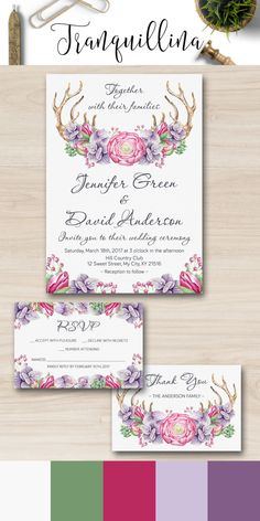 Wedding Invitation, Rustic Deer Wedding Invitation, Watercolor Bohemian Purple Wedding Invite, Antlers Floral Wedding Invitation - pinned by pin4etsy.com