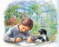 Marcel Marlier - Martine doing homework with her kitten. Marcel, Sarah Kay, Cartoon Pics, Children's Book Illustration, Vintage Children, Cat Art, Cute Drawings, Vintage Art, Illustrators
