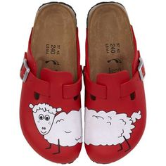Birkis clogs Woodby from Birko-Flor in Sheep Red Background with a narrow insole Birki's. $51.64. Birko-Flor