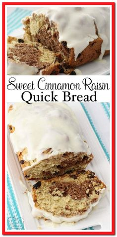 No yeast needed for this soft Sweet Cinnamon Raisin Quick Bread! Easy to make with a lovely flavor & texture, you've got to save this recipe! Butter With A Side of Bread via (Quick Bread Recipes) Quick Bread Recipes, Baking Recipes, Pasta Recipes, Cheesecakes, Easy Desserts, Dessert Recipes, Dinner Recipes, Milk Bread Recipe, Butter Recipe