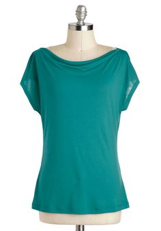 simple but nicer than a tee - Artistic Retreat Top in Jade, #ModCloth