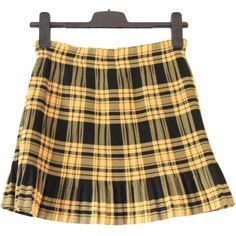 90s plaid pleated skirt, black yellow, high waist rise checkered... ($27) ❤ liked on Polyvore