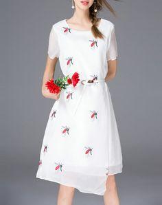 #AdoreWe Tetelee Tempting White Asymmetrical Short Sleeve Midi Dress with Belt - AdoreWe.com