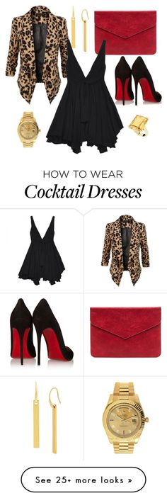 """""""Date Night """" by visualxtasy on Polyvore featuring Diane Von Furstenberg, LE3NO, Christian Louboutin, Yves Saint Laurent, StyleRocks and Rolex"""