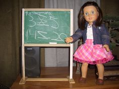 Homemade Moveable chalkboard... American Girl Playthings!