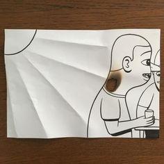 Toujours avec une simple feuille, un stylo, quelques découpages, pliages et…
