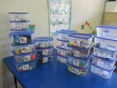 "Preschool Alphabet Sound Tubs:  I gave the kids & parents ""homework"" to fill a tub with items that begin with each letter. Then as a class we sort them into the Letter Tubs. Then we have them for activities for years to come."