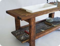 Vintage workbench converted into a kitchen countertop