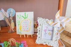 Finger-painted Canvas + Photo Props + Decor from a Flamingo pineapple themed birthday party via Kara's Party Ideas | KarasPartyIdeas.com (17)