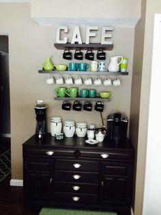 Coffee Bar Ideas - Looking for some coffee bar ideas? Here you'll find home coffee bar, DIY coffee bar, and kitchen coffee station. Coffee Station Kitchen, Coffee Bars In Kitchen, Coffee Bar Home, Home Coffee Stations, Beverage Stations, Coffee Nook, Coffee Corner, Coffee Mugs, Corner Cafe