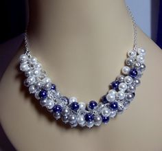 Blue Silver and White Pearl Necklace Wedding by DelaneyJeanJewelry