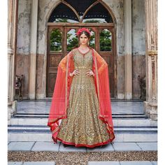 Suit Anarkali wedding bridal Designer kameez Asia Indian Pakistani net Party STITCHED Beige red Bollywood style