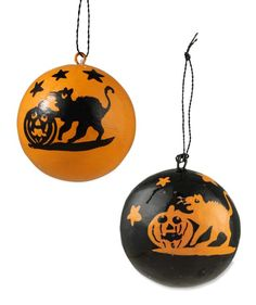 Halloween Cat Silhouette Ball Ornaments from The Holiday Barn