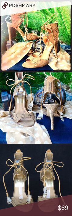 """Dolce Vita Lace-up Tassel Heels NWT🌹 Stunning Dolce Vita strappy, lace-up Nubuck heels. Tassels have feathers adorned to tips. Fun and sassy 4"""" heel designed with aggregated colored cork. Brand new, never worn in Size 8 Dolce Vita Shoes Heels"""