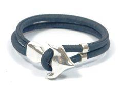 blue anchor cork bracelet * vegan jewelry * sterling silver bracelet * cork bracelet * blue bracelet * vegan bracelet * unisex bracelet