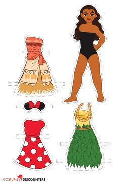 Dress your favorite characters from the new Disney classic Moana with these great paper dolls from Costume Discounters. Moana Printables, Party Printables, Easter Printables, Moana Birthday Party, Moana Party, Moana Theme, Moana Crafts, Disney Crafts, Disney Paper Dolls