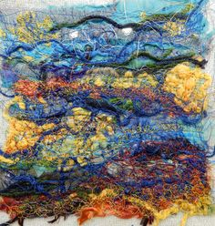 "Created with fabrics, fibres, threads, free motion stitching and water soluble stabilizer. 6"" x 6"" ""Spawning"""