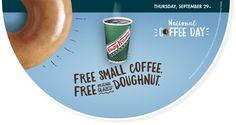 #Free Coffee and #Doughnut at #KrispyKreme Any guest who visits a participating shop on #NationalCoffeeDay will receive a free small #coffee and a free Original Glazed doughnut. #ezswag #havefun #savemoney #makemoney #freebies #freestuff #freefood #freeswag #freeswagfromezswag http://krispykreme.com/Locate/Location-Search