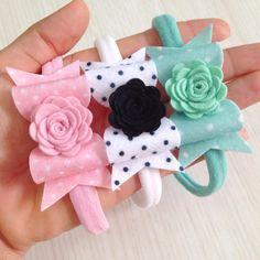 Handmade Filles Boucle Cheveux Nœud Bobbles vendu en paires Pink Shades//Blanc