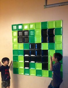Minecraft wall decoration. Would be great as a photo backdrop. Made from square plastic plates.