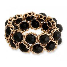 Erica Lyons Black Gold-Tone La Vida Jet Stretch Bracelet ($20) ❤ liked on Polyvore featuring jewelry, bracelets, black, stretch jewelry, erica lyons jewelry, gold tone bangles, sparkle jewelry and gold tone jewelry