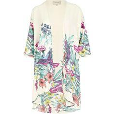 River Island Cream Floral Print Kimono