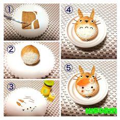 The art of kyaraben (character lunch box). How to make a Totoro inarizushi. Kawaii Bento, Cute Bento, Cute Snacks, Cute Food, Bento Recipes, Baby Food Recipes, Bento Tutorial, Bento Kids, Kawaii Cooking