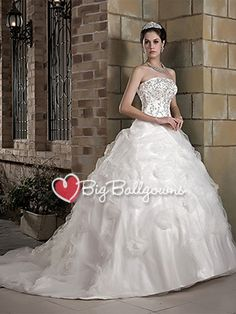 White Princess Huge Strapless Tulle Satin Embroidered Long Ball Gown - US$ 255.99 - Style BG0256 - BigBallGowns