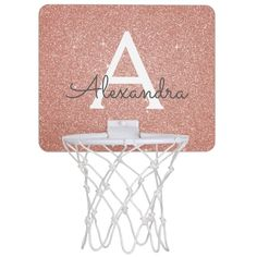 Pink Rose Gold Glitter & Sparkle Monogram Name Mini Basketball Hoop - tap/click to personalize and buy #MiniBasketballHoop #elegant, #monogram, #monogrammed, #pink, #rose Pink Basketball, Mini Basketball Hoop, Basketball Backboard, Basketball Gifts, Basketball Bedroom, Basketball Decorations, Gifts For Sports Fans, All Family, Rose Gold Glitter