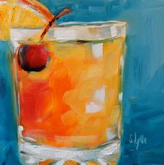 """Sarah B. Lytle Original Oils - bright and colorful """"Whiskey Sour"""" 6""""x6"""" $50.00 SOLD"""