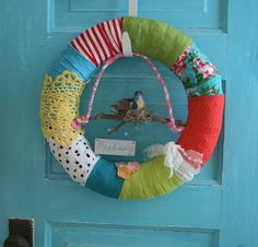 happy scrappy wreath  relax  bird in nest  by TheChubbyDove, $40.00
