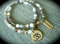 Yogi Bead Botswana Agate Yoga Lover 10k Gold Charms Bracelet