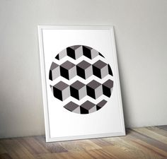 Geometric cube Wall art printable minimalist by OrangeKiteLabs