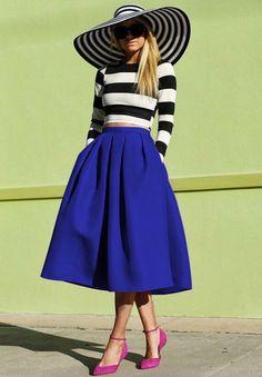 jupe plissée mi-longue -bleu -French SheIn(Sheinside)