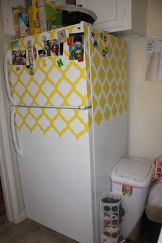 Use contact paper to snazzy-up your boring fridge- Offbeat Home- Great idea for sterile white rental kitchens! I NEED COLOR :)