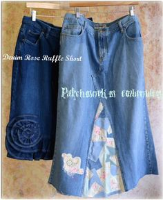 Amazing Modest Jean Skirts Short Denim Rose Ruffle and Long Patchwork w/embroidery. Find more @ www.facebook.com/lovemyjeanskirt