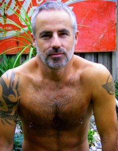 Tats, chest, hair...Silver fox