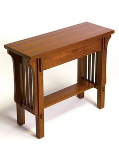Arts and Crafts Mission Console Table - 9168 by Arts and Crafts. $269.00. Free Shipping. USA Northern Red Oak All veneer is USA Quarter Sawn Solid top construction All joints are mortise and tenon Screwed on ply case backs - no staples Dimensions: 32W x 12D x 26H For more information on Arts and Crafts construction click HERE