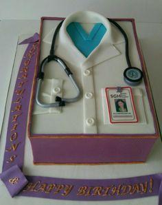 - Cake to celebrate medical school graduation and birthday.