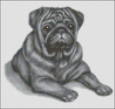 This pattern is of a lying down black Pug and uses 15 colours. The pattern size is 98 x 93 stitches. Each chart is printed over four pages and the Cross Stitch Charts, Cross Stitch Designs, Cross Stitch Patterns, Pug Cross, Black Pug, Chart Design, Knitting Charts, Cross Stitching, Embroidery Stitches