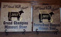 Awards made for a cattle show using ceramic floor tile and vinyl lettering.
